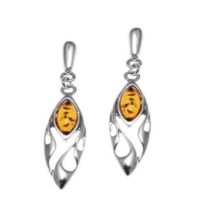 Anaisz - azték jellegű ezüst fülbevaló ovális borostyánnal - Sissi Ékszer