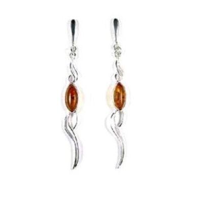 Anelma - különleges hosszú ezüst fülbevaló borostyánnal - Sissi Ékszer