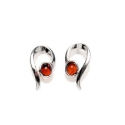 Annaliza - különleges ezüst fülbevaló borostyánnal - Sissi Ékszer