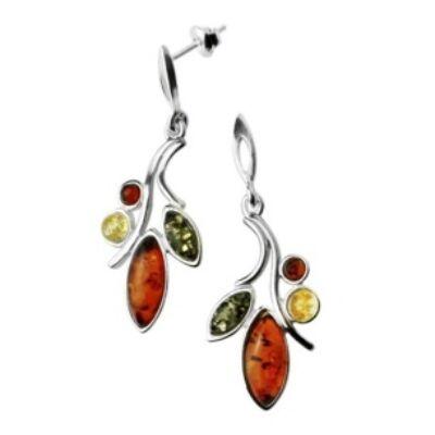 Annavera - különleges ezüst fülbevaló több színű borostyánnal - Sissi Ékszer