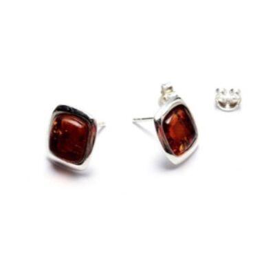 Apol - négyszögletes ezüst fülbevaló borostyánnal - Sissi Ékszer