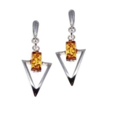 Arona - háromszög formájú ezüst fülbevaló borostyánnal - Sissi Ékszer