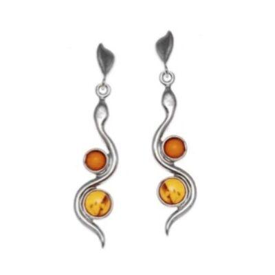 Atina - különleges ezüst fülbevaló 2 borostyánnal díszítve - Sissi Ékszer