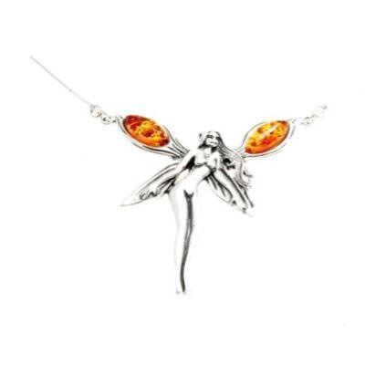Nila ezüst nyaklánc borostyánnal díszítve