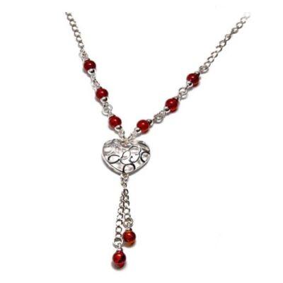 Norena - ezüst borostyán nyaklánc szív alakú függővel