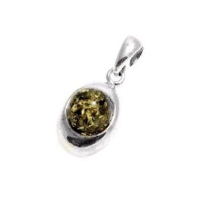 Padma zöld borostyánköves ezüst medál