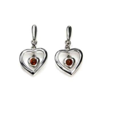 Szív - ezüst fülbevaló kis borostyán kővel - Sissi Ékszer