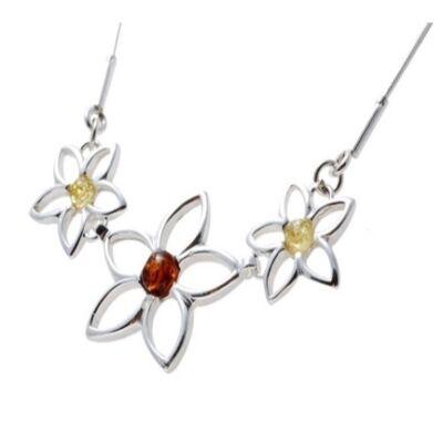 Virágos borostyánköves ezüst nyaklánc