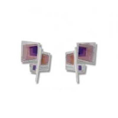 Atelo rózsaszín lila tűzzománc ezüst fülbevaló