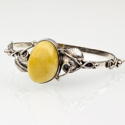 Ezüstbe foglalt sárga borostyán karkötő