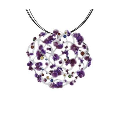 Calicaos csipke lila tűzzománccal díszített ezüst medál