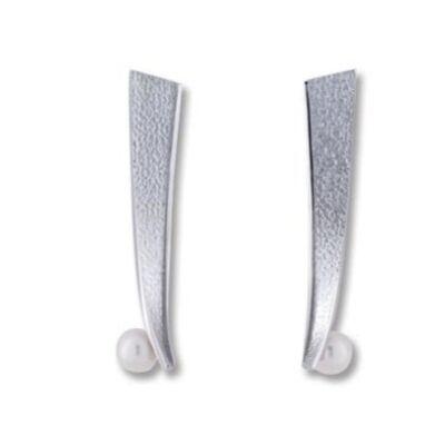 Cliptedra gyönggyel díszített ezüst fülbevaló