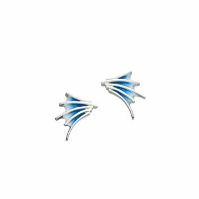 Cascade kék tűzzománc ezüst fülbevaló