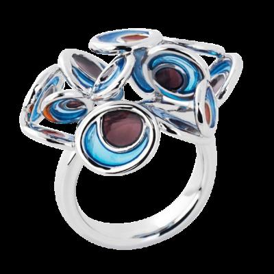 Opuntia kék zománc gyűrű
