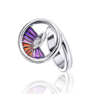 Equinox lila tűzzománc ezüst gyűrű