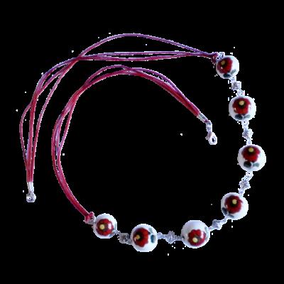Fehér-piros kalocsai porcelán nyaklánc