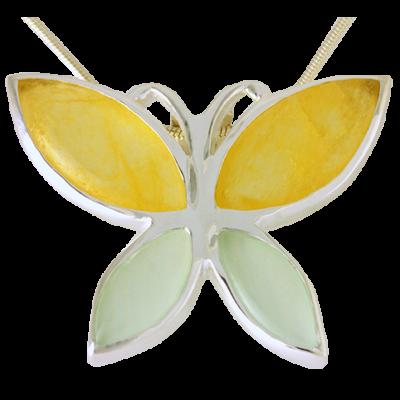 Ezüst medál sárga és zöld kalcedonnal