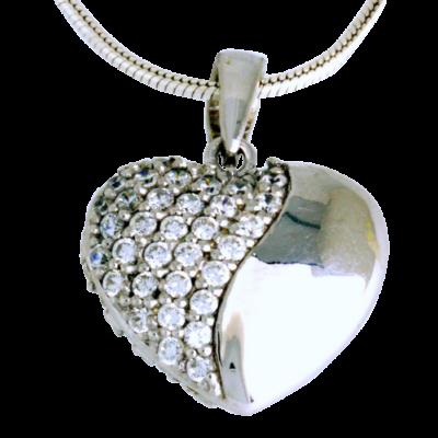 Szív ezüst medál cirkóniával