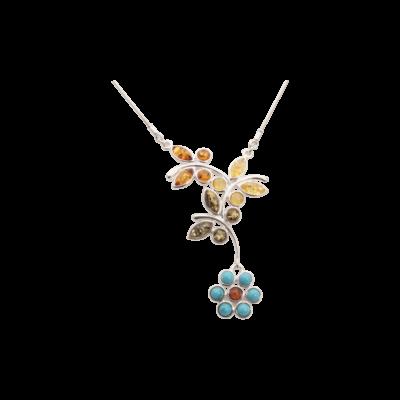 Türkiz virágos borostyán ezüst nyaklánc