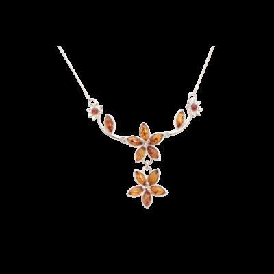 Karamell virág borostyán nyaklánc