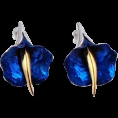 Kék titánium fülbevaló (kicsi) -BEM