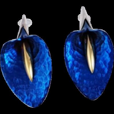 Kék titánium fülbevaló (nagy) - CE