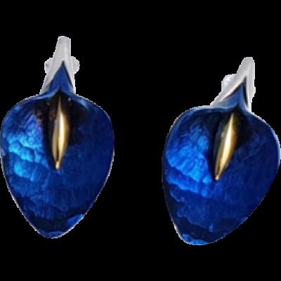 Kék titánium fülbevaló (kicsi) -CEM