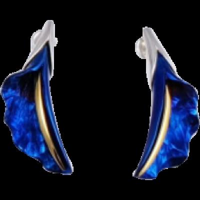Kék titánium fülbevaló (kicsi) -FEM