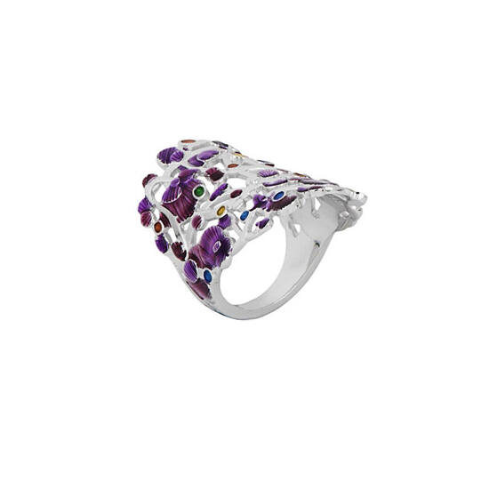 Calicaos csipke lila tűzzománc ezüst gyűrű