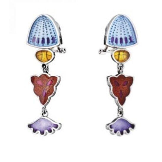 Diatomeas tengeri kagylók színes tűzzománccal díszített ezüst fülbevaló