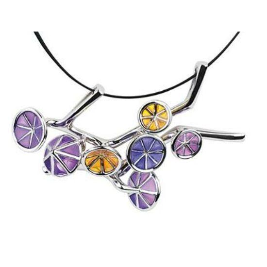 Ipomea esernyő formájú ezüst lila tűzzománc medál