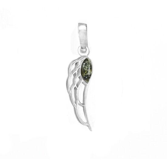 Angyalszárny medál zöld borostyánnal
