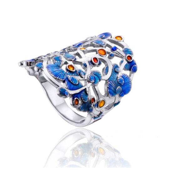 Calicaos csipke kék tűzzománc ezüst gyűrű