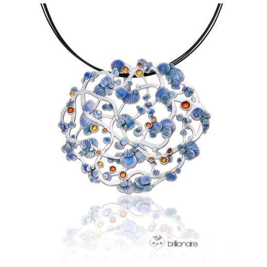 Calicaos csipke kék tűzzománc ezüst medál