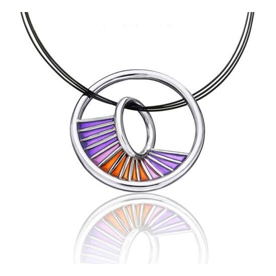 Equinox lila tűzzománc ezüst medál