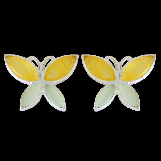 Ezüst fülbevaló sárga és zöld kalcedonnal