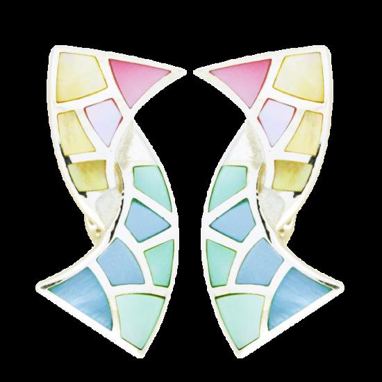 Ezüst fülbevaló színes gyöngyházzal