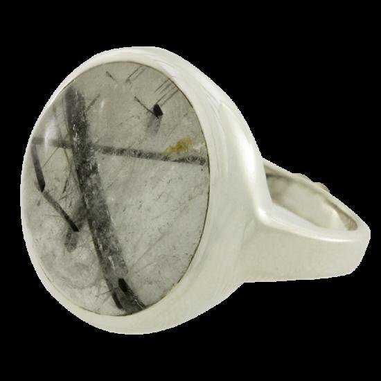 Ezüst gyűrű kerek rutillal