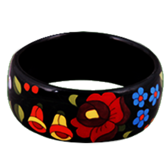 Fekete kalocsai porcelán karkötő