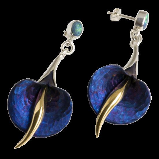 Opál köves kék titán fülbevaló