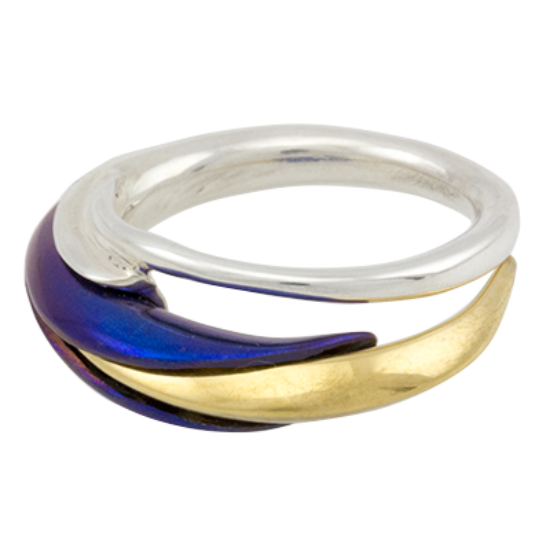 Kék titánium gyűrű lándzsa kálával