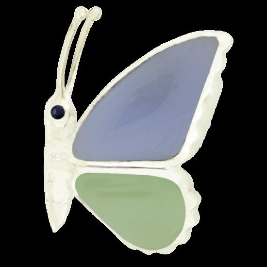 Pillangó ezüst medál kalcedonnal