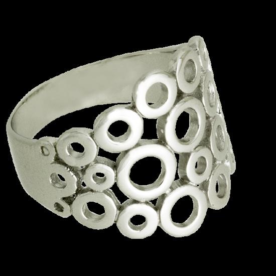 Ródiumozott Ezüst Gyűrű Karikákkal