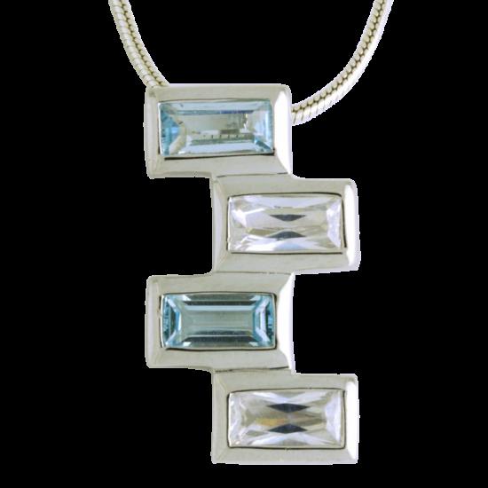 Ezüst medál kék cirkóniával