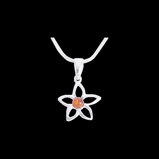 Virág borostyán medál