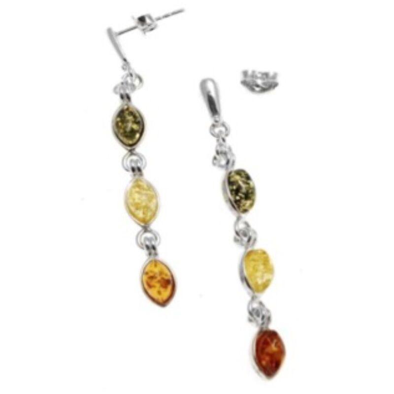 Atara - ezüst fülbevaló 3 különböző színű borostyánnal - Sissi Ékszer