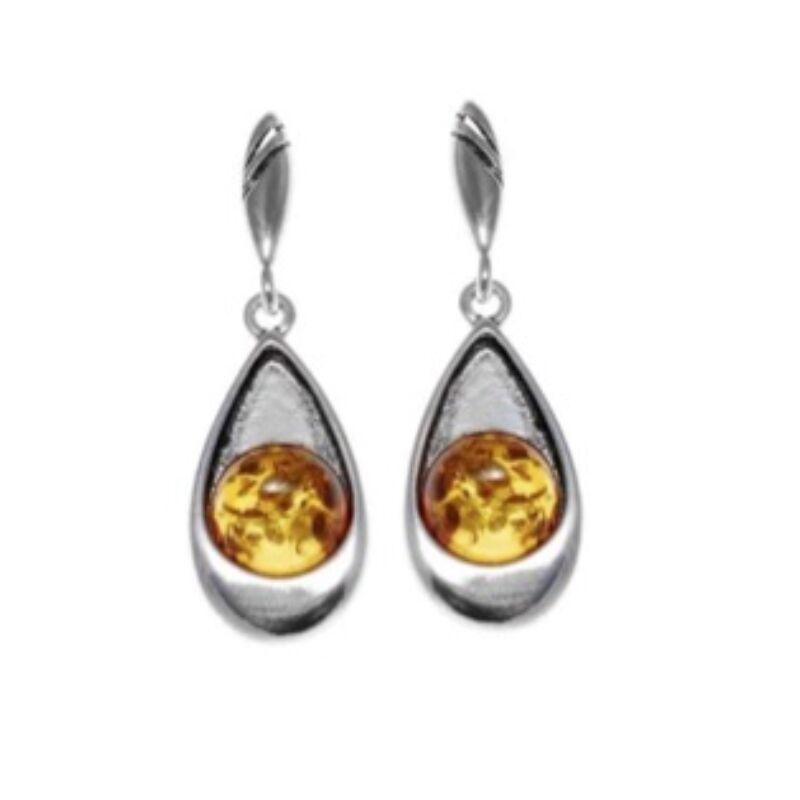 Azura - csepp formájú ezüst fülbevaló borostyánnal - Sissi Ékszer
