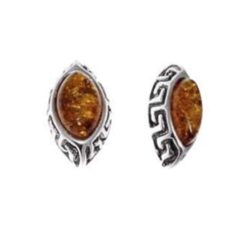 Greek - görög mintájú ezüst fülbevaló borostyánnal - Sissi Ékszer