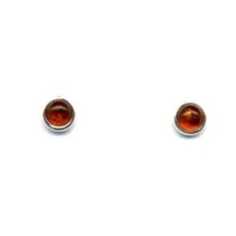 Katica - kis kerek ezüst fülbevaló konyak borostyánnal