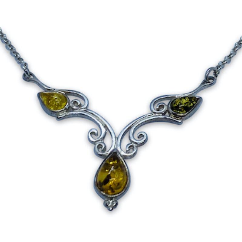 Netti multicolor borostyánköves ezüst nyaklánc